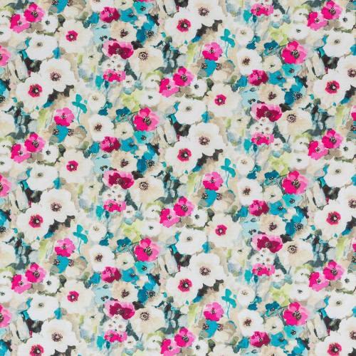 Coton impression numérique fleurs aquarelle roses