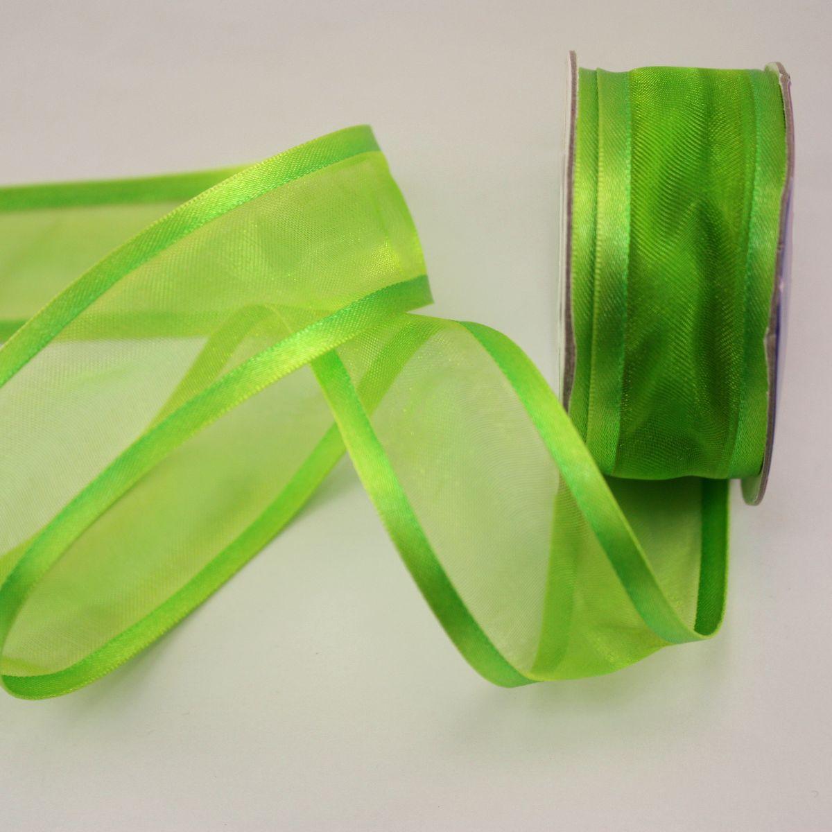 Ruban fantaisie en bobine vert 25 mm