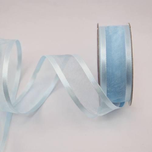 Ruban fantaisie en bobine bleu ciel 20 mm