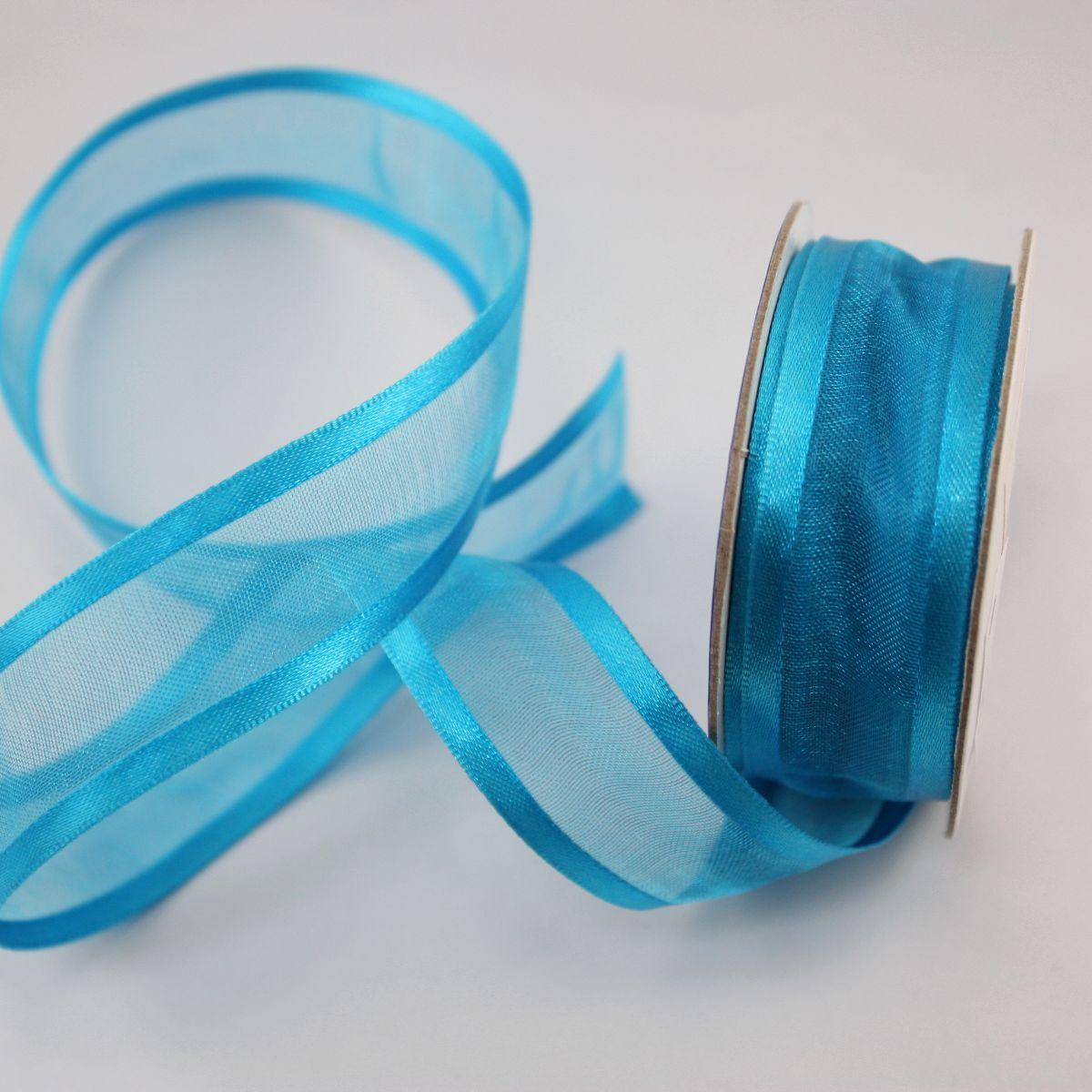 Ruban fantaisie en bobine bleu azur 20 mm