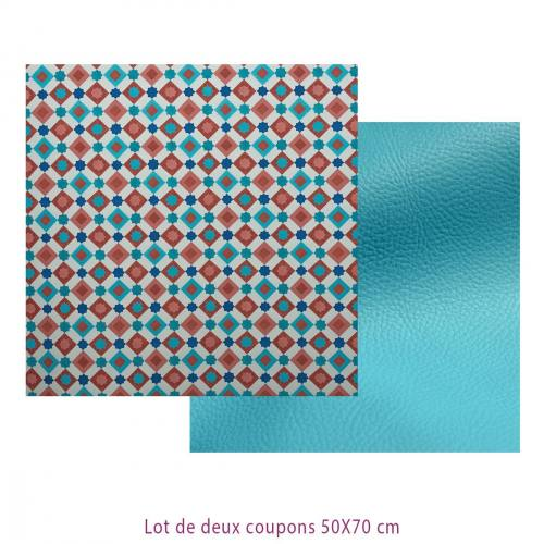 Lot de 2 coupons : Toile polyester carreaux de ciment impression Malaga + Simili turquoise