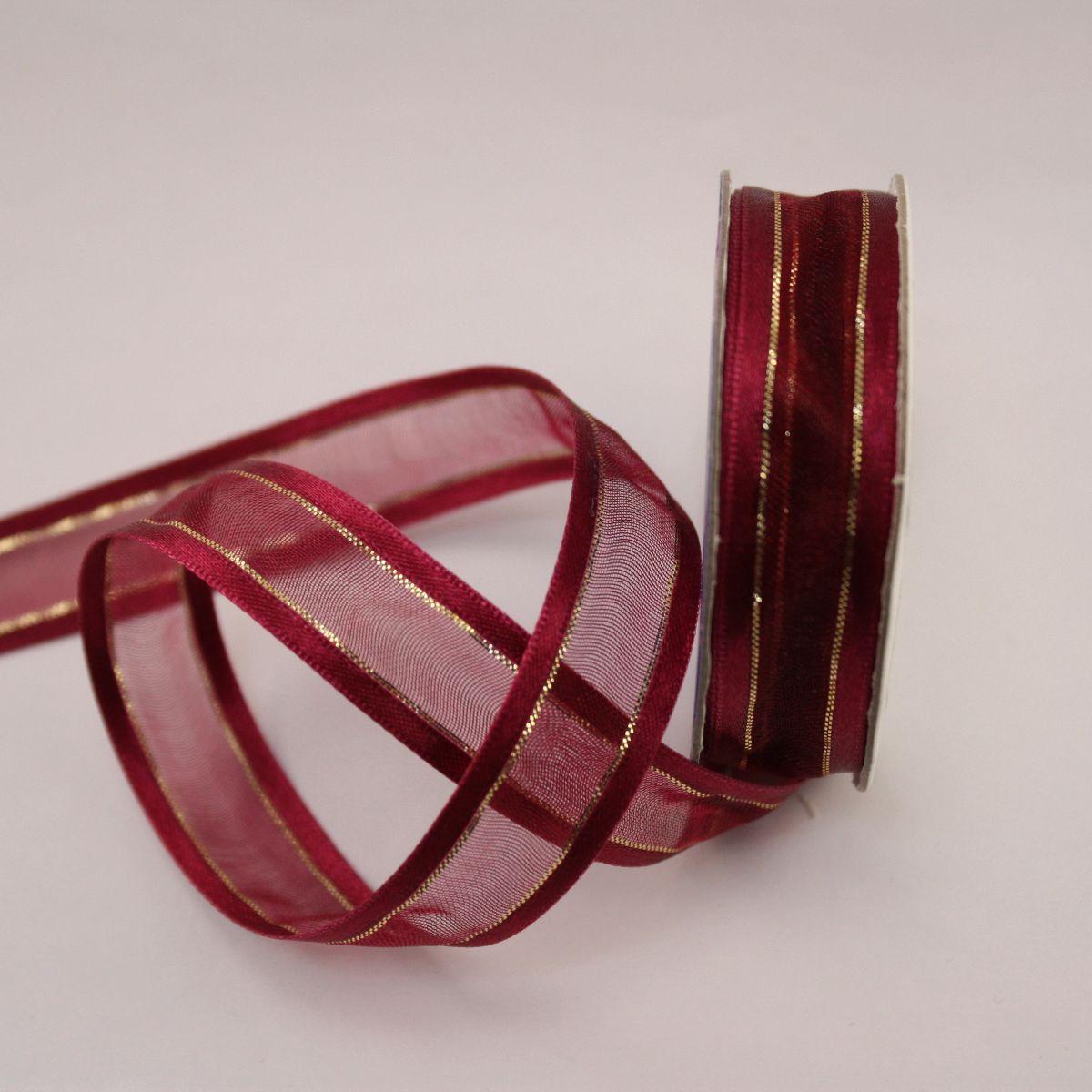 Ruban fantaisie en bobine bordeaux 15 mm