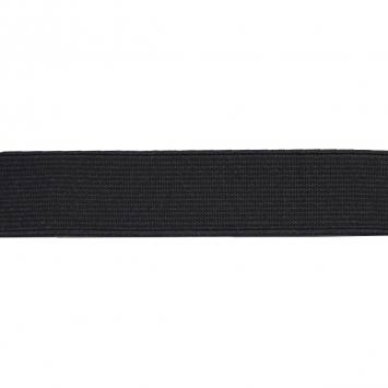 Elastique cotelé noir 25 mm