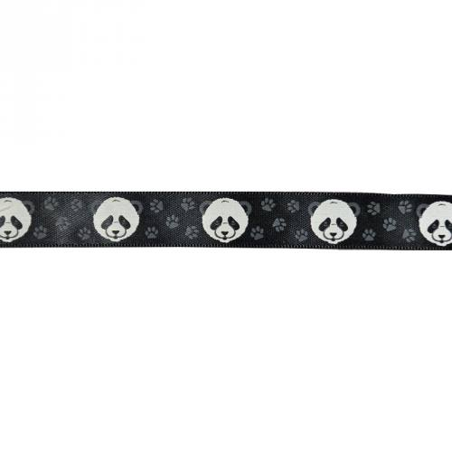 Ruban satin fantaisie en bobine noir motif panda 16 mm