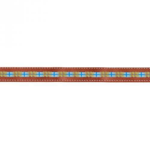 Ruban satin fantaisie en bobine marron motif écossais 12 mm