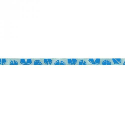 Ruban satin fantaisie en bobine bleu motif pieds 6 mm