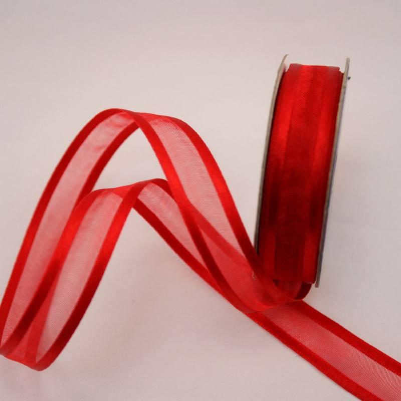 Ruban fantaisie en bobine rouge 12 mm