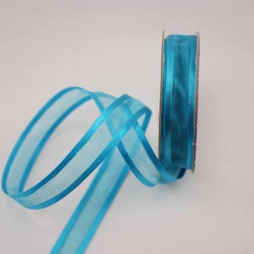 Ruban fantaisie en bobine bleu azur 12 mm