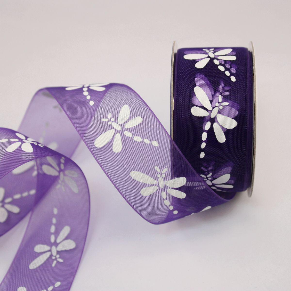 Ruban organdi fantaisie violet 25 mm