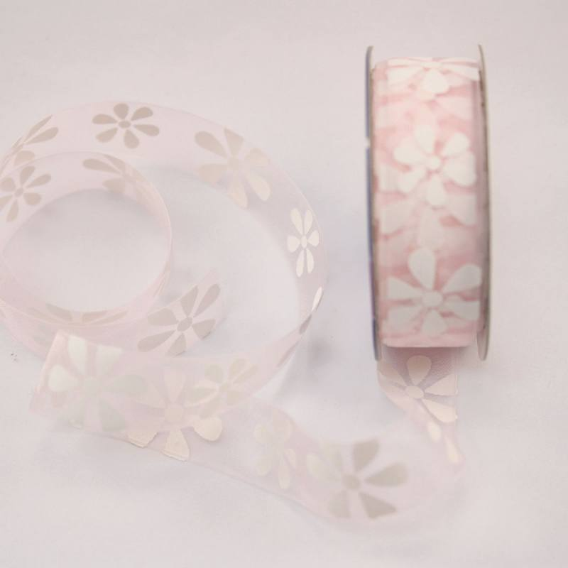 Ruban organdi fantaisie vieux rose 15 mm
