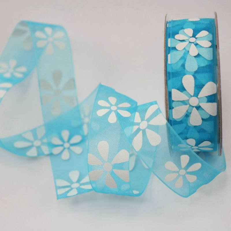 Ruban organdi fantaisie bleu azur 15 mm