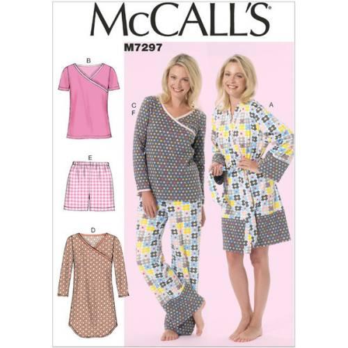 Patron Mc Call's M7297: Peignoir, Ceinture, Haut, Robe, Short et Pantalon Taille: 46-52