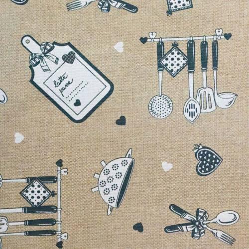 Coton enduit love cuisine gris
