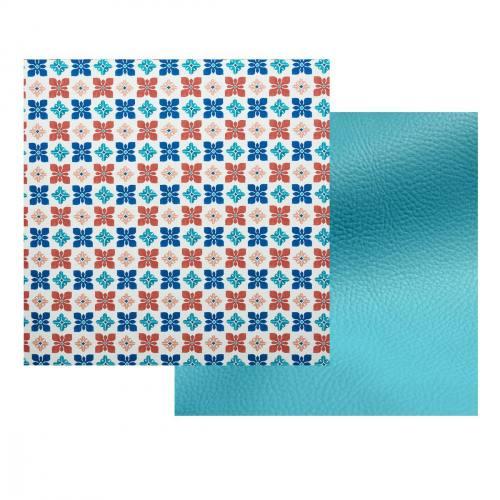Lot de 2 coupons : Toile polyester carreaux de ciment impression Séville + Simili turquoise