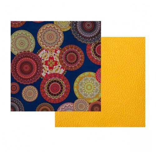 Lot de 2 coupons : Tissu bleu marine mandala + Simili jaune