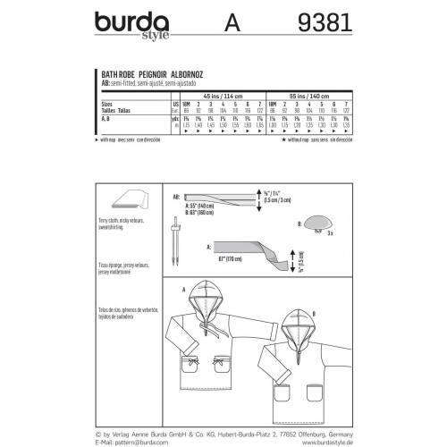 Patron Burda 9381: Peignoir enfant Taille : 86 à 122cm