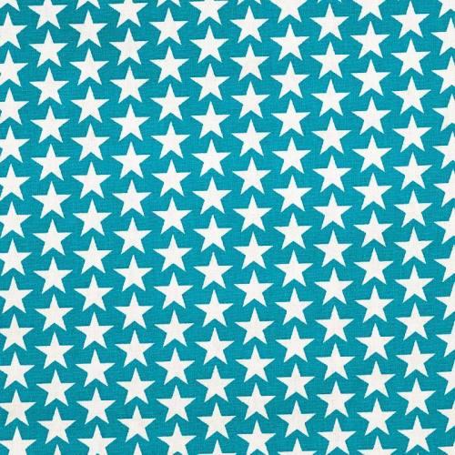 Coton étoiles monroe bleu pétrole