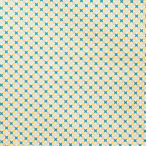 Coton kebull bleu, jaune et gris