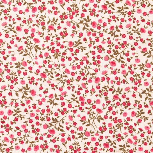 Coton blanc liberty marron et rose