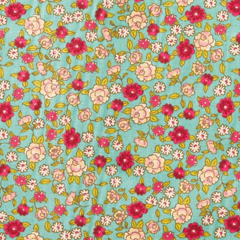 Coton fleurs sarina vert d'eau