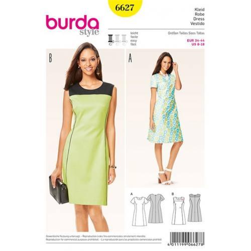Patron Burda 6627 : Robe Taille : 34-44