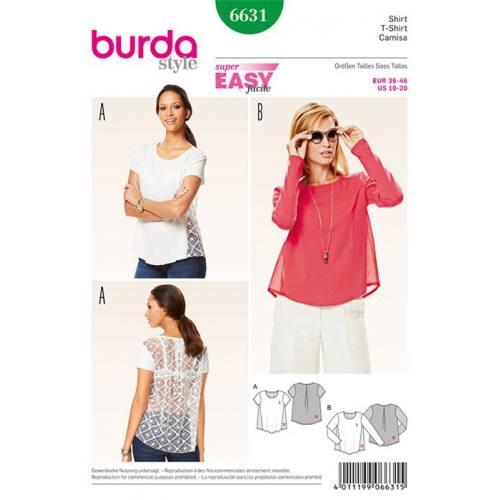 Patron Burda 6631 : T-shirt Taille : 36-46