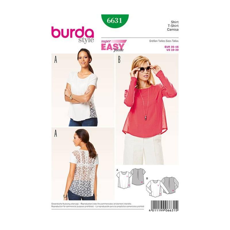 46 Patron Taille 6631T Shirt Tissus Burda 36 Price k0nOPXw8