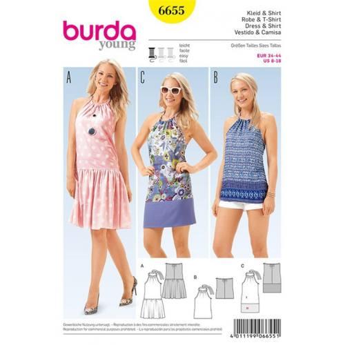 Patron Burda 6655 : T-shirt et Robe Taille : 34-44
