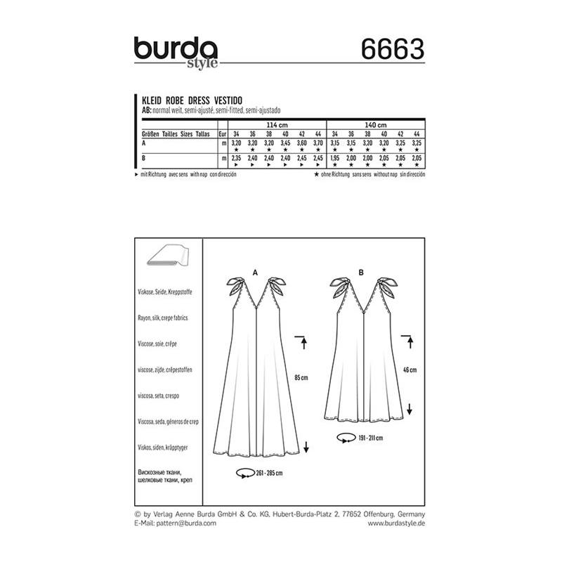 Patron Burda 6662 : Robe et Blouse Taille : 34-46