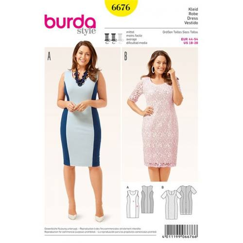 Patron Burda 6676 : Robe Taille : 44-54