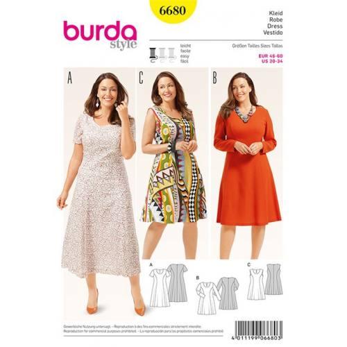 Patron Burda 6680 : Robe Taille : 46-60