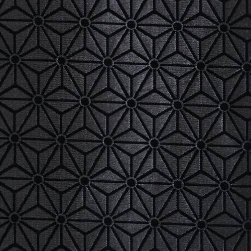Jacquard argent motif asanoha noir