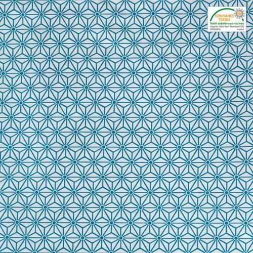 Jacquard blanc motif asanoha turquoise
