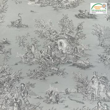 Toile coton grise imprimée toile de Jouy
