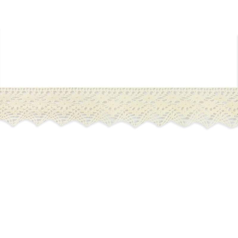 Ruban de dentelle coton écru 38 mm