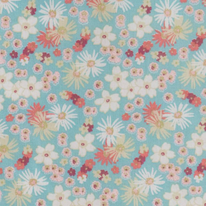 Coton fleurs zinia menthe et rose