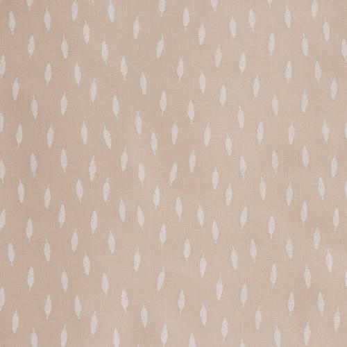 Coton taupe imprimé petites plumes