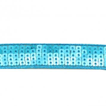 Bobine 10m Galon paillettes carrées bleu turquoise