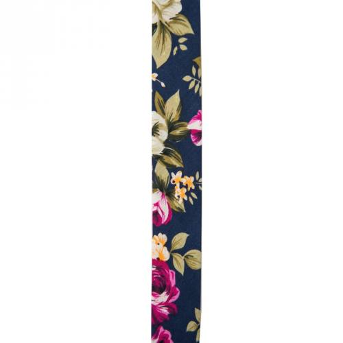 Biais replié 25 mm bleu marine à fleurs