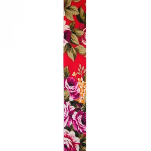 Biais replié 25 mm rouge à fleurs