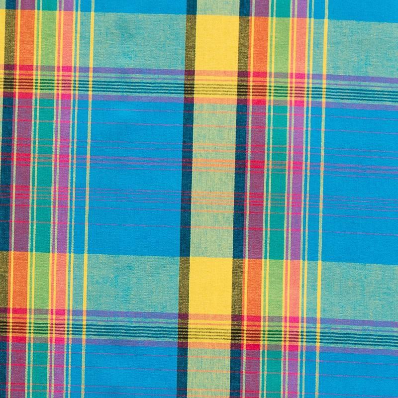 Coton madras turquoise