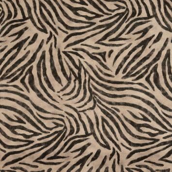 Toile coton effet lin imprimée peau de zèbre