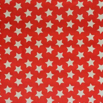 Satin rouge imprimé étoiles blanches