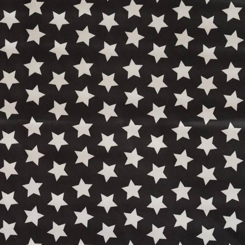 Satin noir imprimé étoiles blanches