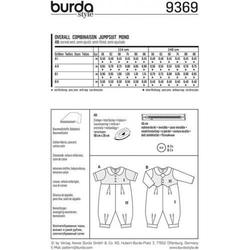 Patron Burda 9370: Combinaison pour bébé Taille : 62 à 92 cm
