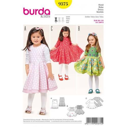Patron Burda 9375: Robe Taille : 86 à 116 cm