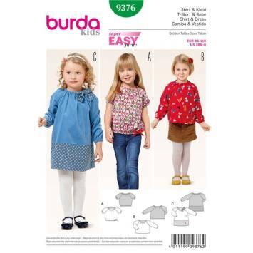 Patron Burda 9376: T-shirt & Robe Taille : 86 à 116 cm