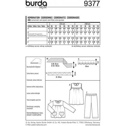 Patron Burda 9377: Coordonnés Taille : 86 à 116 cm