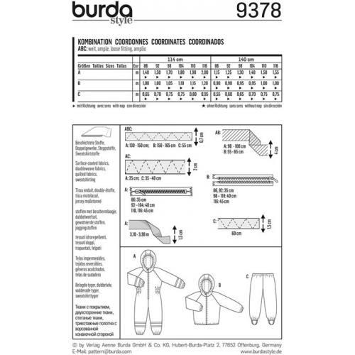Patron Burda 9378: Coordonnés Taille : 86 à 116 cm