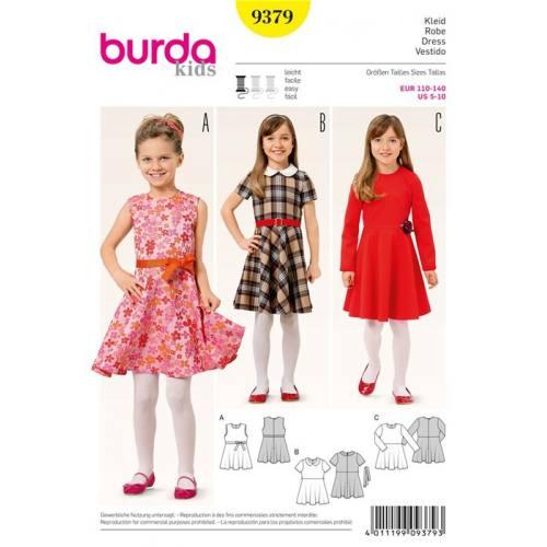 Patron Burda 9379: Robe Taille : 110 à 140 cm
